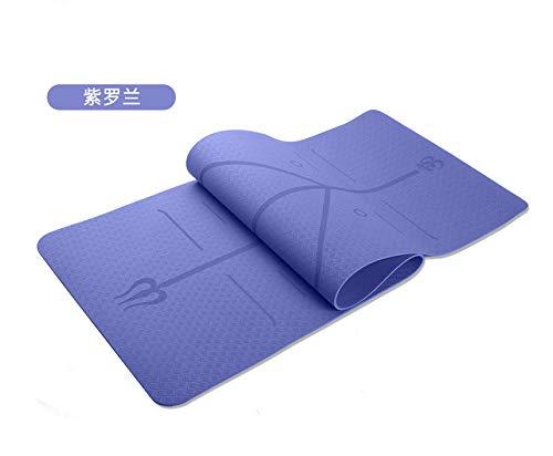 Nobranded TPE Estera De Yoga Línea De Postura De Una Sola Capa Monocromática 6mm Estera De Yoga Antideslizante Estera De Fitness Violeta