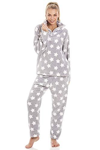 Camille Conjuntos de Pijama de Felpa Suave de Cuerpo Entero de Manga Larga para Mujer 42-44 Light Grey