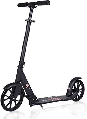 Patinete para adultos y adolescentes, de aleación de aluminio, ajustable, plegable, ruedas grandes y freno trasero, no eléctrico, capacidad de 99 kg (color negro)