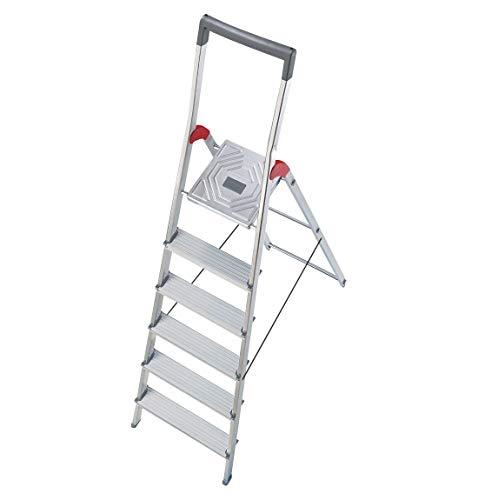 Hailo ProfiLine S150 Alu-Stufenstehleiter (6 Stufen, grauer Haltebügel, Eimerhaken, belastbar bis 150 kg) 8936-027