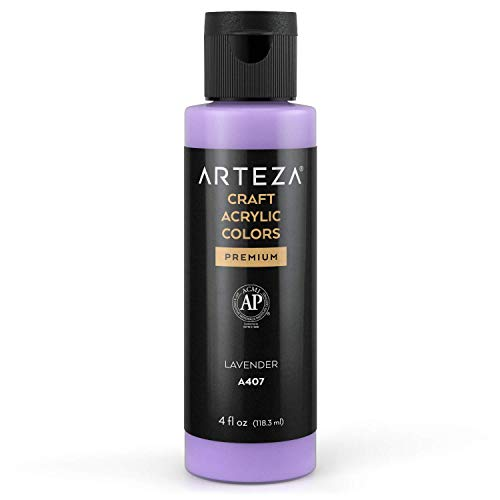 Arteza Craft Acrylic Paint, A407 Lavender, 4fl oz (118 ml) Bottle, Water-Based, Blendable, Matte Acrylic Paint for Art & DIY Outdoor Projects on Glass, Wood, Ceramics, Fabrics, Paper & Canvas
