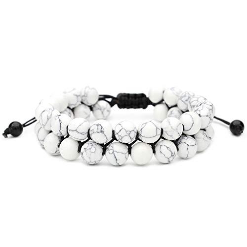 Brooch Men Women 8mm Lava Rock Chakra Double Beads Elastic Natural Stone Agate Bracelet Woman Jewelry Clearance