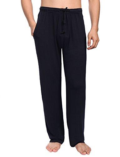 Aibrou Pantalones de Pijama Hombre Largos con Cinturón de Forro Polar Modal,Suave,Comodo,Ajustable y Transpirable, color Negro, Talla L