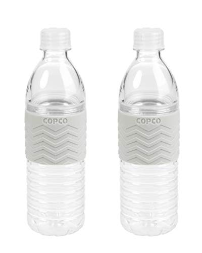 Copco Hydra Reusable Tritan Water Bottle with Spill Resistant Lid and Non-Slip Sleeve, 16.9-Ounce, 2 Pack (Gray)
