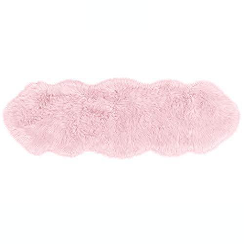 Teppich Wölkchen Lammfell-Teppich Lang Kunstfell Schaffell Imitat   Wohnzimmer Schlafzimmer Kinderzimmer   Als Faux Bett-Vorleger oder Matte für Stuhl Sofa (Rosa Rose - 55 x 160 cm)