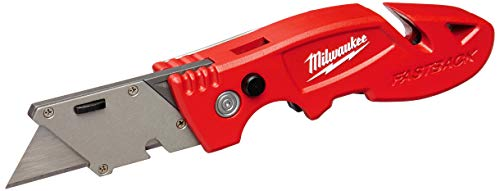 Milwaukee 48-22-1903 Fastback Flip Utility Knife with Blade Storage, Press and Flip Opening, 4 Blade Storage, All Metal Body, Quick Blade Change, Gut Hook, Wire Stripper, Wire Form Belt Clip