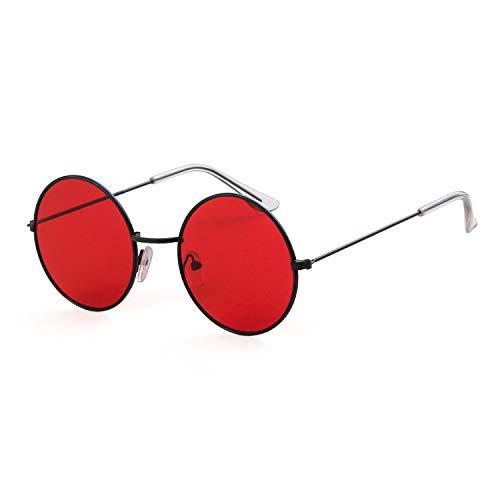 Round Retro Sunglasses Men Women Steampunk Style Circle Sun Glasses (Black Frame/Red Lens, 50)