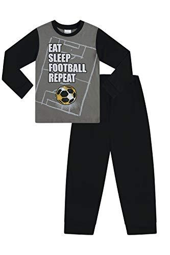 Pijama de algodón para niños con Texto en inglés Eat Sleep Football Repeat