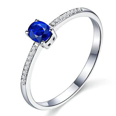 Bishilin Anillos de Boda Oro Blanco 750, Sencillo Oval Zafiro 0.55ct Diamante Anillo de Alianza de Boda de Compromiso de Aniversario Regalos para Cumpleaños Navidad Azul Plateadotamaño: 15