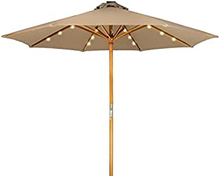 Trademark Innovations 9' Solar Powered LED Lighted Wood Frame Patio Umbrella (Tan)