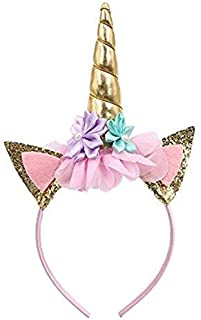 Party Propz Unicorn Headband Gold Horn Headband Ears Photo Props Girl Birthday Outfit Cheeks Gold Glitter Horn Headband Fl...
