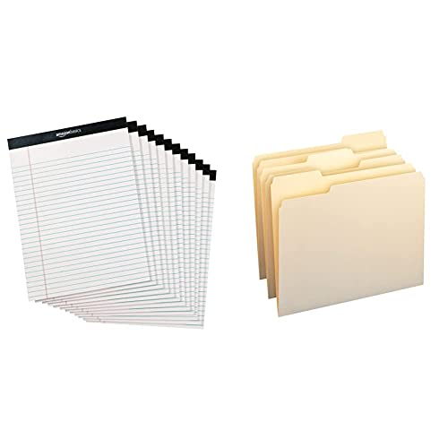 Amazon Basics Legal/Wide Ruled 8-1/2 by 11-3/4 Legal Pad - White (50 Sheet Paper Pads, 12 pack) & 1/3-Cut Tab, Assorted Positions File Folders, Letter Size, Manila - Pack of 100