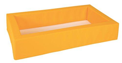 Weichschaumbett für Krippen und Kleinkinder mit Bezug Kunstleder gelb und rutschfestem Boden inklusive Matratze Kunstleder orange - Made in Germany (1)