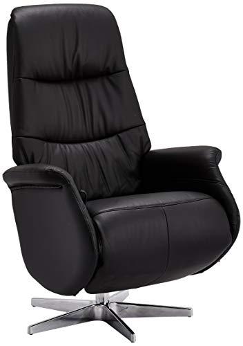 Ibbe Design Schwarz Leder Drehbar Relaxsessel mit Manuell Verstellbar Relaxfunktion und Fussteil Fernsehsessel Boston, 90x79x114 cm