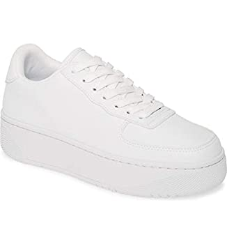 Jeffrey Campbell Court Fashion Sneakers White Lace Up Platfrom Tennis Shoes  6 White White
