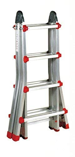 Escalera Articulada Telescópica Plegable 4+3 en 2 Tramos Profesional de Aluminio. Escada Articulada Telescópica (Hasta 14 Peldaños/Até 14 degraus)