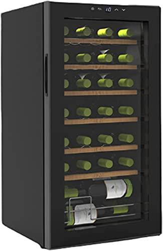 ZHZHUANG Freestanding Compressor Wine Nevera, 28 Botella de Vino Refrigerador, Refrigerador de Vino, Bodega para Champagne Rojo Champán Chispeante Negro,Negro,43X45X84Cm