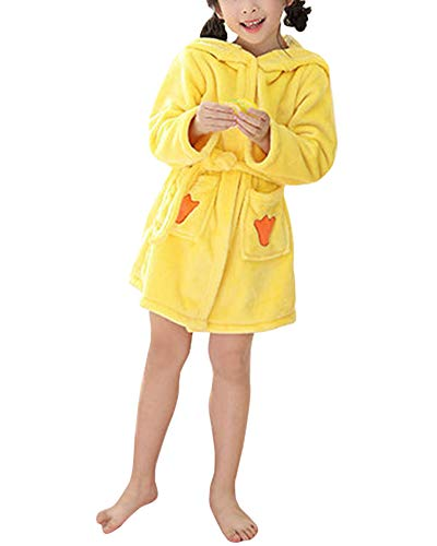 Albornoz Bata con Capucha Manga Larga Cartoon Modelado Housecoat para Niño Niña Pato 110