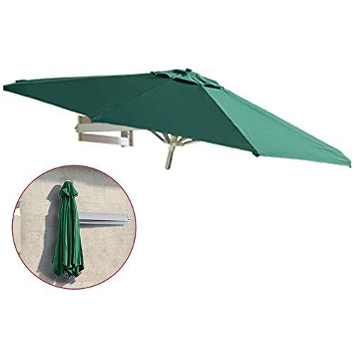 ZAQI Parasol Jardin Sombrillas Terraza Playa Sombrillas Montadas en La Pared, Green Garden Deck Market, Cabañas de Playa, Sombrilla Redonda, Toldo con 8 Costillas de Aluminio y Brazo Telescópico