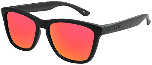 X-CRUZE® 9-008 Gafas de sol Nerd polarizadas estilo Retro Vintage Unisex Caballero Dama Hombre Mujer Gafas - negro mate/rojo-anaranjado tipo espejo