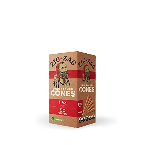 ZIG-ZAG 1 ¼ Rolling Papers Pre Rolled Cones 50-75-100 Pack - Natural Unbleached Bulk Cones with Tips - Prerolled Rolling Paper Cone Pack - Pre Roll Cones for Filling - Easy to Use and Convenient (50)