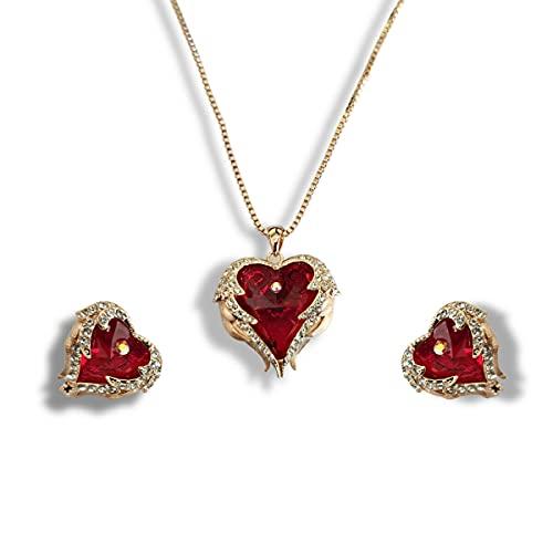 Collar y pendientes de diamantes con acabado en oro rosa con forma de corazón de rubí y corte en forma de corazón | Joyería para mujer