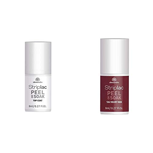 alessandro Striplac Peel or Soak Top Coat – LED-Überlack für eine perfekt glänzende Farblackierung – 8ml & Striplac Peel or Soak Velvet Red – LED-Nagellack in dunklem, samtigen Rot – 1 x 8ml
