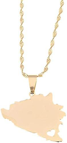 quanjiafu Collar Collares con Colgante De Mapa De Herzegovina Y Color Dorado De Acero Inoxidable para Mujeres, Mapas, Joyería Patriótica, Regalos Collar