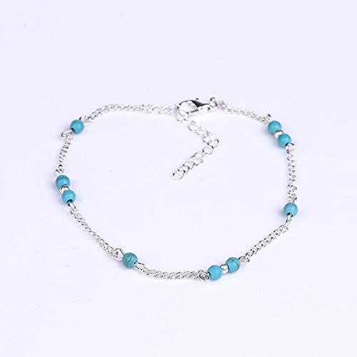 Ballylelly Perlas de Turquesa de imitación para Mujer Pulsera de Tobillo Hecha a Mano de Plata Personalidad Pulsera de Tobillo de Moda Regalos de joyería Femenina