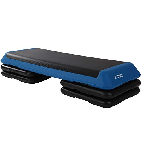 Aerobic Exercise Step Platform by Day 1 Fitness - Adjustable Workout Stepper - 40in x 14in - 4 Riser Options - Non-Slip and Shock Absorbing Surface - Premium Gym Equipment and Accessories For Home