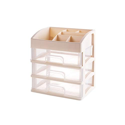 CMHC Nueva Multi Capa de Almacenamiento Caja Organizador del cajón de la Caja cosmética Mesa de plástico joyería Superior del rectángulo de joyería Caja Brillante (Color : Beige 3layers)