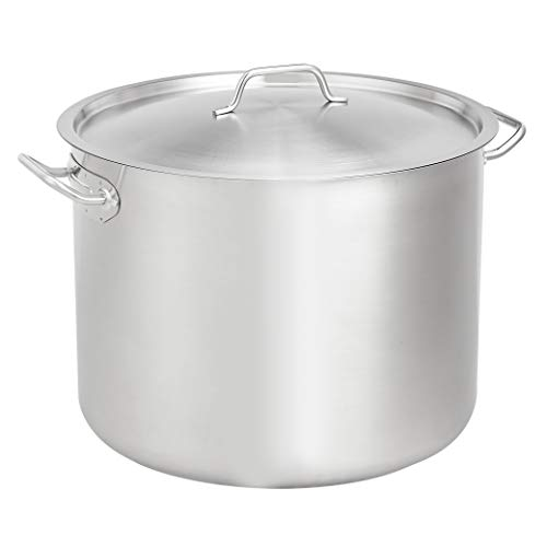 AmazonCommercial 40 Qt. Stainless Steel Aluminum-Clad Stock Pot with Cover