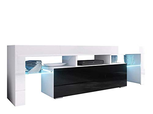 BIM Furniture TV Lowboard kast VERO 138 cm hoogglans TV tafel dressoir, TV commode, televisiekast, Mediaboard, onderkast HiFi TV-kast modern mat wit/zwart hoogglans.