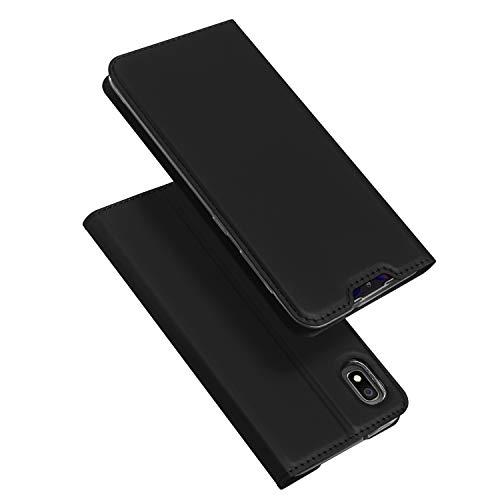 DUX DUCIS Hülle für Samsung Galaxy A10, Leder Flip Handyhülle Schutzhülle Tasche Hülle mit [Kartenfach] [Standfunktion] [Magnetverschluss] für Samsung Galaxy A10 (Schwarz)