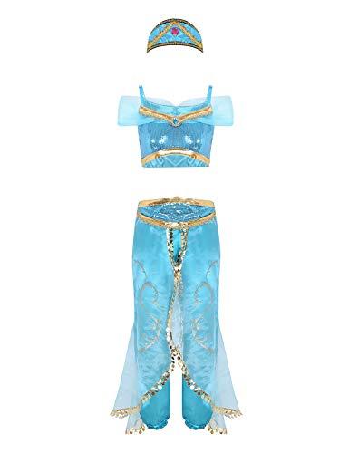 MSemis Disfraz Princesa Árabe Jazmín para Mujer Chica Niñas Traje Lujoso Princesa Oriental Disfraces Lámpara Aladina Cosplay Fiesta Halloween Navidad Despedida Azul X-Large