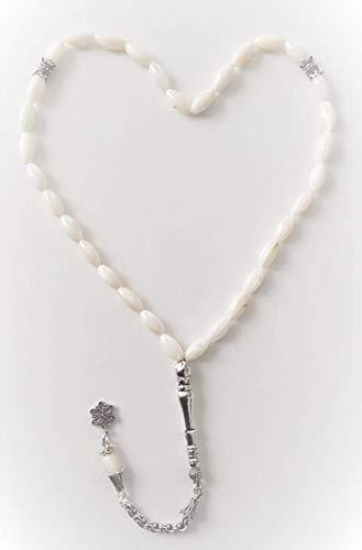Perle Stein König Quaste Naturstein aus 925 Silber - Sedef Taşlı Kral Püskül Doğal Taş Tesbih - Original Ware - 33 Perlen Gebetskette