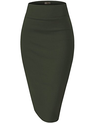Womens Premium Stretch Office Pencil Skirt KSK45002 Olive XLarge