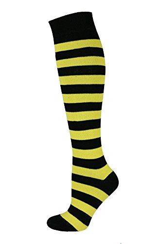 Mysocks Unisex Kniestrümpfe lange Socken Streifen Gelb Schwarz