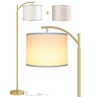 Rottogoon Floor Lamp for Living Room, LED Standing Lamp with 2 Lamp Shades Tall Industrial Arc Floor Lamp Reading for Bedroom, Office, Study Room (9W LED Bulb, Beige & White Shades Included) - Gold