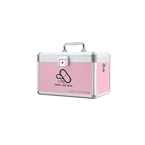 LF- Medizin-Kasten Haushalt Medizin Box Medizin Ambulante Erste Hilfe Kranke Box Aufbewahrungsbox speichern (Color : Pink, Size : 345×205×220mm)