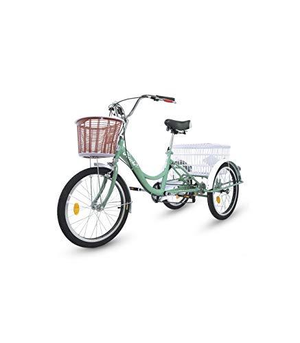 Riscko Wonduu Triciclo para Adultos con 2 Cestas, 6 Velocidades, Asiento Y Manillar Ajustable Mod. Bep-14 Azul Turquesa Sin Montaje
