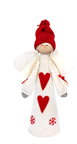 Gisela Graham,puntale per albero di Natale, di colore rosso e bianco, in feltro, 25cm Angel
