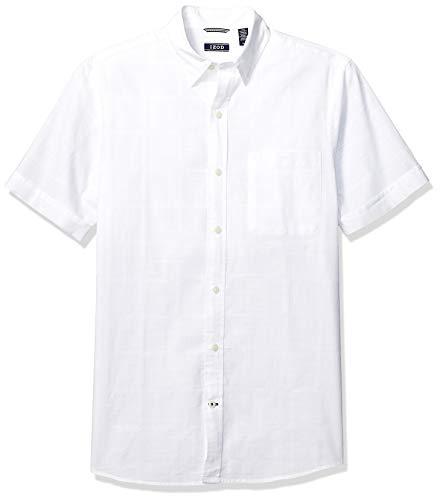 Izod - Camisa de Manga Corta para Hombre con Botones y Panel de Ventana, Blanco Brillante, XX-Large