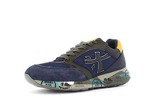 PREMIATA Heren Schoenen Lage Sneakers Zac-Zac 4229 Maat 45 Blauw/Mosterd