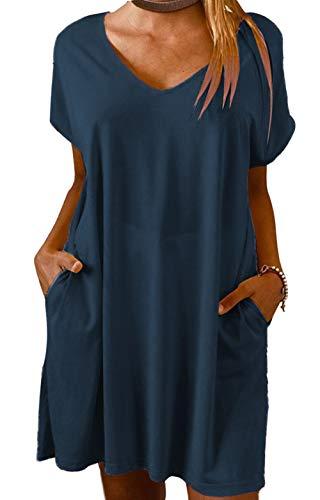 Yidarton Vestido de verano de lino para mujer, cuello en V, vestido de playa, monocolor, línea A, vestido bohemio, largo hasta la rodilla, sin accesorios Zyz/Azul Oscuro L