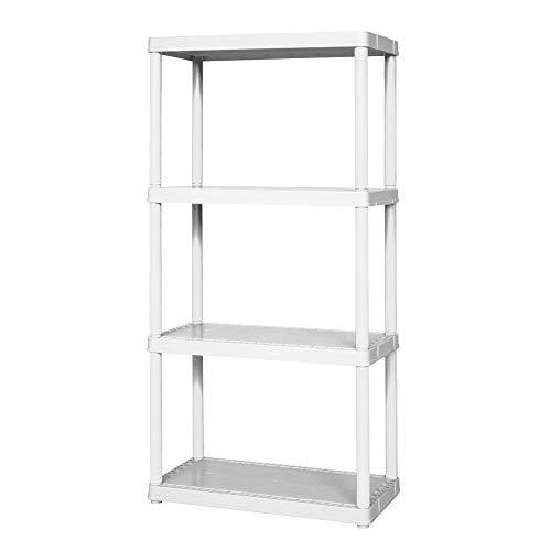 Gracious Living 24 x 12 x 48 4-Shelf Tier Plastic Portable Multi-Purpose Light Duty Indoor Home Storage Organizer Shelves White