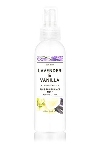 Lavender & Vanilla Perfume Alcohol-free Fine Fragrance Mist by Body Exotics 4 Fl Oz 118 Ml ~ a Heavenly Blend of Lavender and Creamy Vanilla