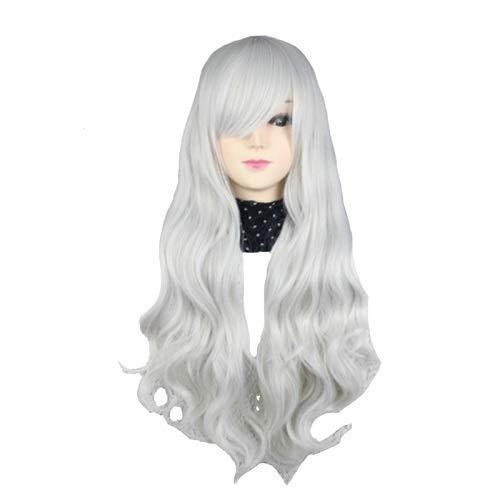 Femme 80cm Curly Parti des femmes 9 couleurs de cheveux synthétiques Anime pleine perruque Pour la danse de fête quotidienne (Color : Silver Grey, Str