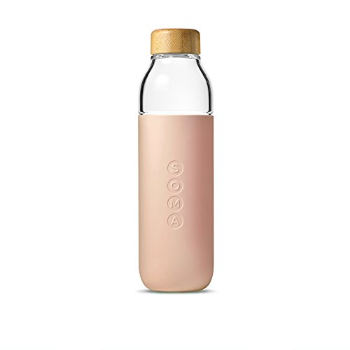 Soma 17 oz. BPA-free Wide Mouth Glass Water Bottle with Silicone Sleeve, Blush (301-16-01)