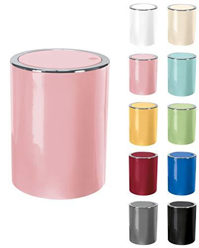 KW  Clappe 5Ltr Plastic Swing Bathroom Bin Kitchen Bin (Soft Pink)